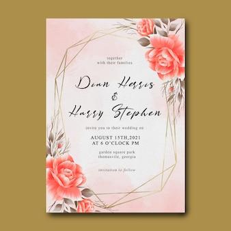 Plantilla de invitación de boda con decoración de ramo de flores