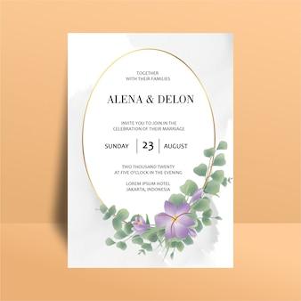 Plantilla de invitación de boda con decoraciones de hojas de eucalipto acuarela