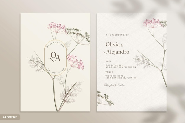 Plantilla de invitación de boda de doble cara