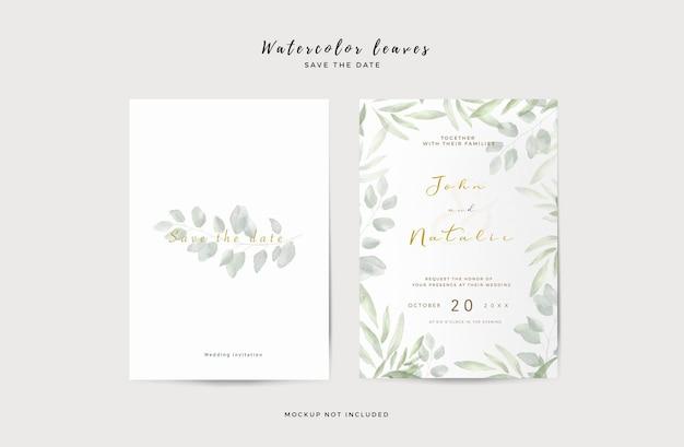 Plantilla de invitación de boda elegante con hojas de acuarela