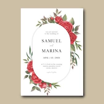 Plantilla de invitación de boda de flor rosa roja acuarela