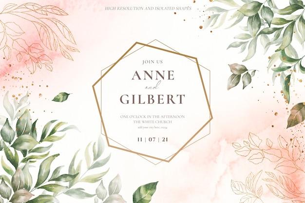 Plantilla de invitación de boda floral con flores suaves
