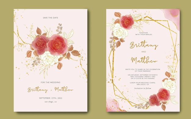Plantilla de invitación de boda con flores de acuarela y fondo dorado