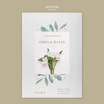 Plantilla de invitación de boda con guardar la fecha