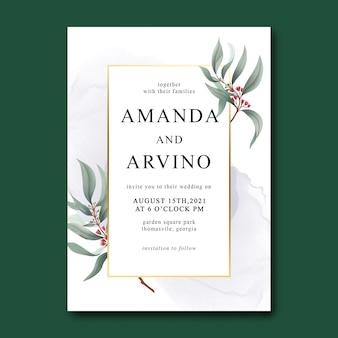Plantilla de invitación de boda con hojas de acuarela y borde dorado