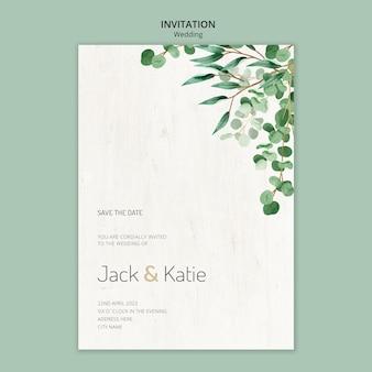Plantilla de invitación para boda con hojas