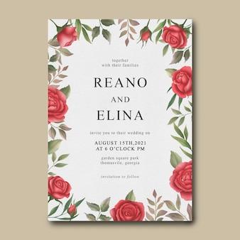 Plantilla de invitación de boda con marco de flor rosa acuarela