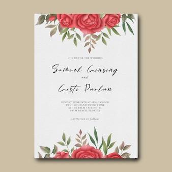 Plantilla de invitación de boda con marco de flor rosa roja acuarela