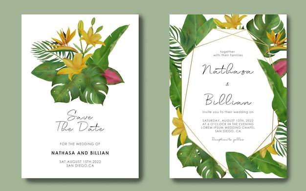 Plantilla de invitación de boda con marco geométrico de hojas tropicales dibujadas a mano