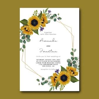 Plantilla de invitación de boda con marco de girasol dibujado a mano