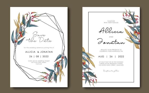 Plantilla de invitación de boda con marco de hoja geométrica dibujada a mano