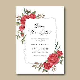 Plantilla de invitación de boda con marco de ramo de flores de rosa roja acuarela