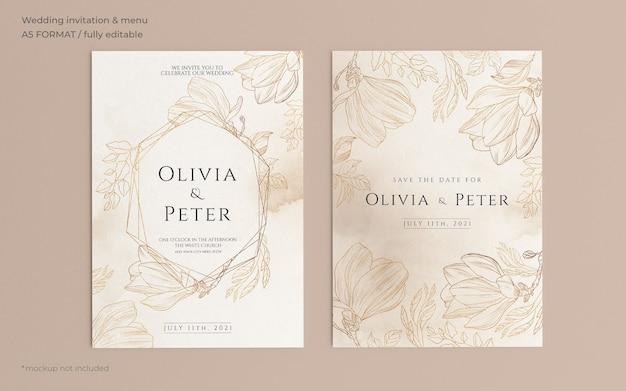 Plantilla de invitación de boda ornamental con naturaleza dorada