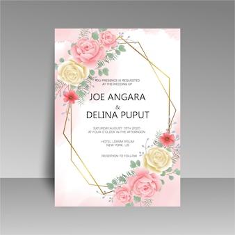 Plantilla de invitación de boda con rosas acuarelas