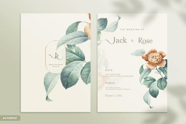 Plantilla de invitación de boda vintage de doble cara con flor verde
