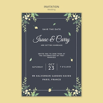 Plantilla de invitación de concepto de boda