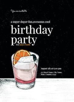 Plantilla de invitación de cumpleaños de caballero psd con ilustración de cóctel