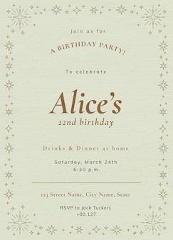 Plantilla de invitación a fiesta en línea psd celebración de cumpleaños