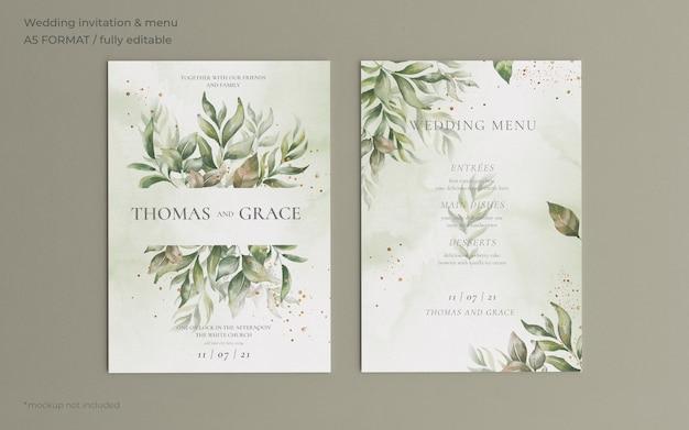 Plantilla de invitación y menú de boda con hermosas hojas