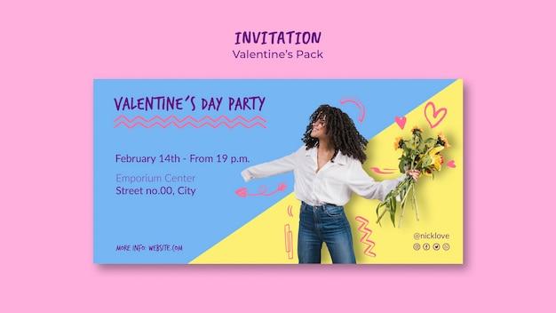 Plantilla de invitación de san valentín