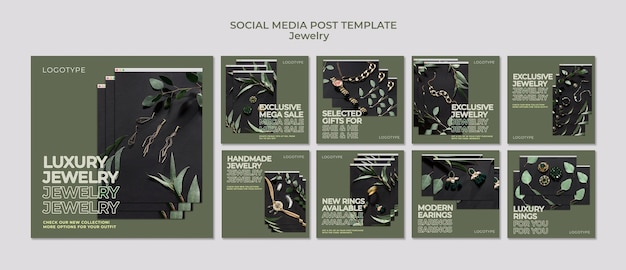 Plantilla de joyería para publicación en redes sociales