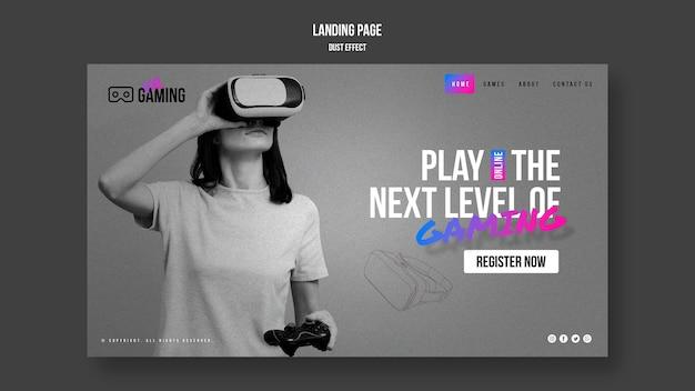 Plantilla de juego de realidad virtual de página de destino