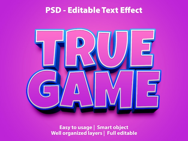 Plantilla de juego verdadero con efecto de texto