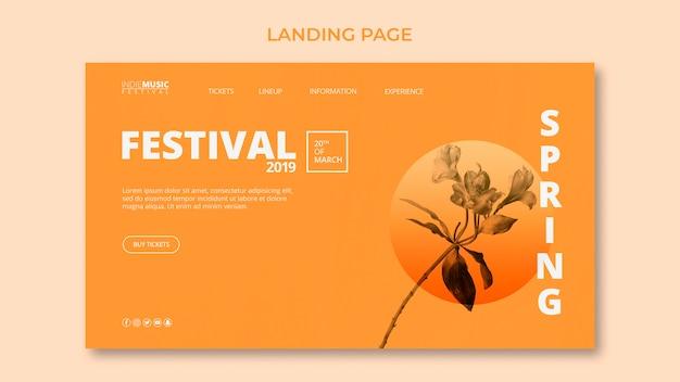 Plantilla de landing page con concepto de festival de primavera