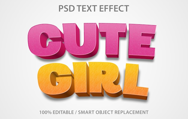 Plantilla de linda chica con efecto de texto editable