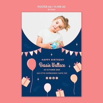 Plantilla linda de póster de cumpleaños