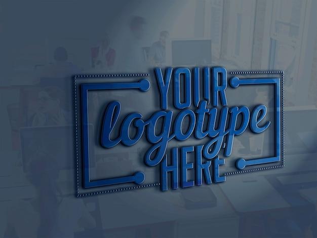 Plantilla de logotipo en el fondo de la oficina