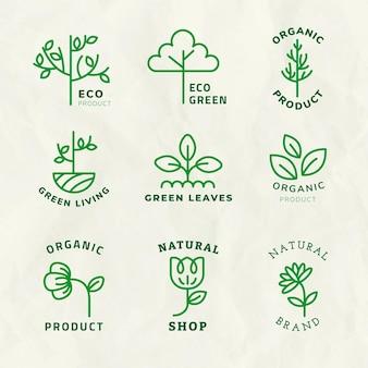 Plantilla de logotipo de línea eco psd para marca con conjunto de texto