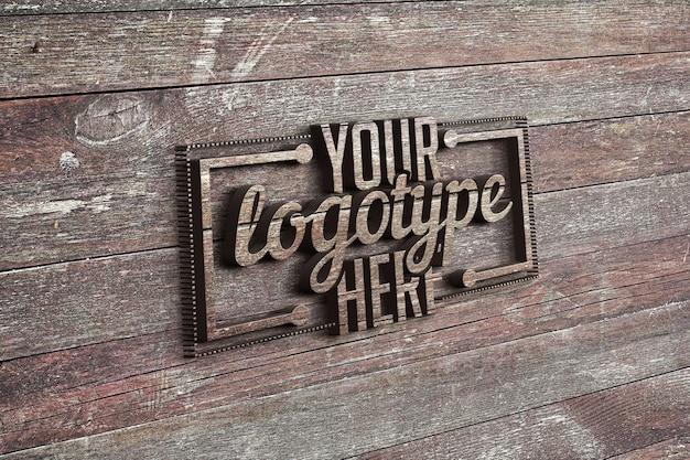 Plantilla de logotipo en madera