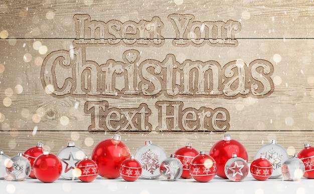 Plantilla de madera grabada con adornos navideños