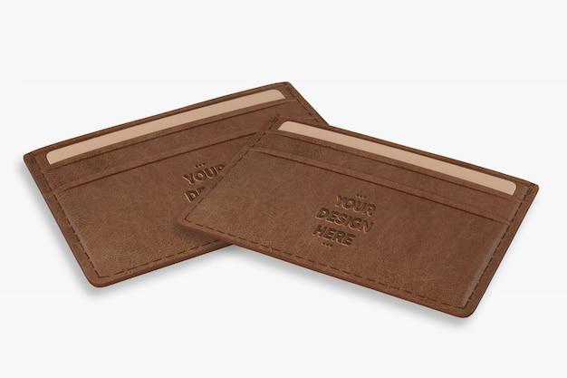Plantilla de maqueta de billetera marrón