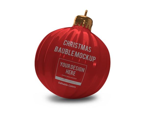 Plantilla de maqueta de bola de adorno de navidad realista aislada