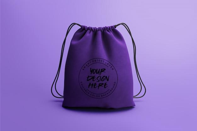 Plantilla de maqueta de bolsa con cordón