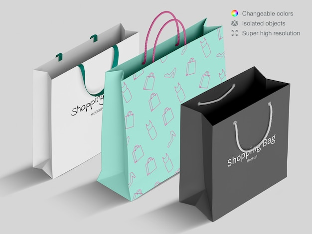 Plantilla de maqueta de bolsas de papel de compras de alto ángulo realista diferente