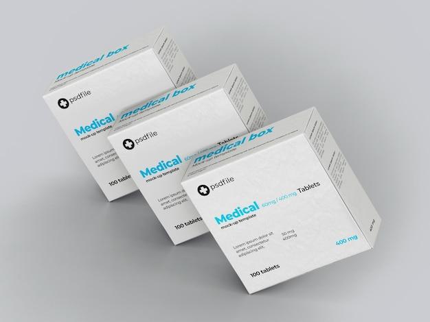 Plantilla de maqueta de caja de medicamentos médicos