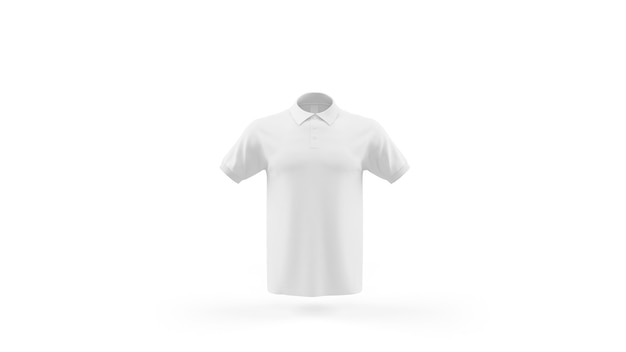 Plantilla de maqueta de camisa polo blanca aislada, vista frontal