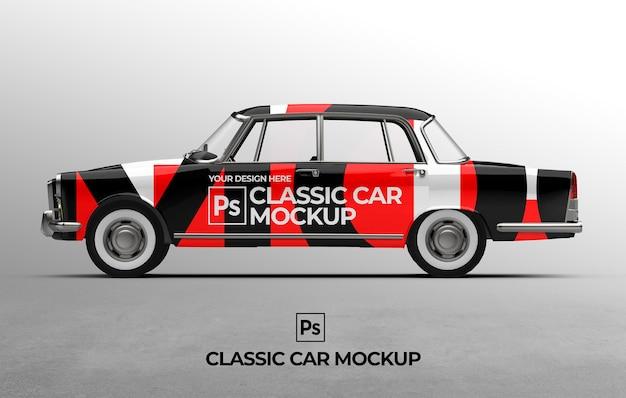 Plantilla de maqueta de coche clásico 3d para presentaciones de marca y publicidad