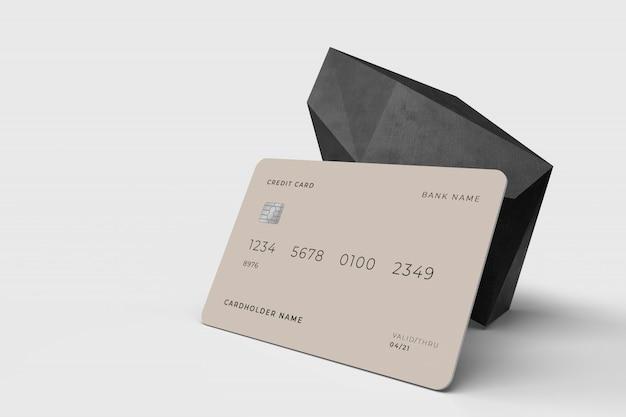 Plantilla de maqueta de concepto de diseño 3d de tarjeta de crédito
