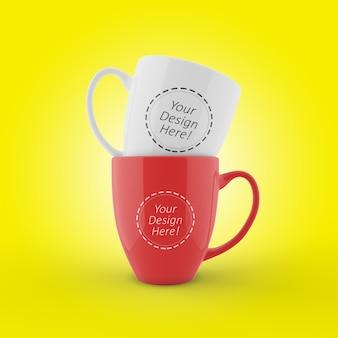 Plantilla de maqueta editable de dos tazas de café apiladas en la vista frontal