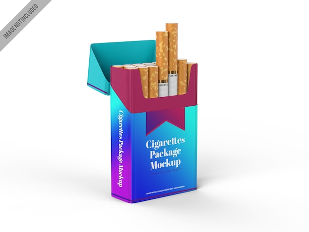 Plantilla de maqueta de empaque de tabaco para cigarrillos