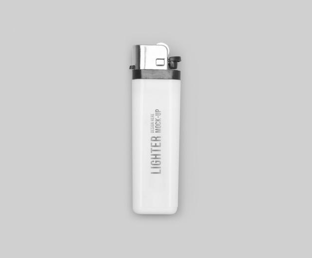 Plantilla de maqueta de encendedor de gas de plástico blanco para su diseño.