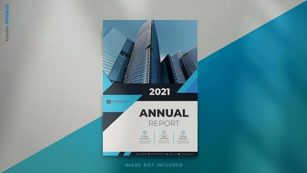 Plantilla de maqueta de folleto de informe anual moderno con formas azules abstractas