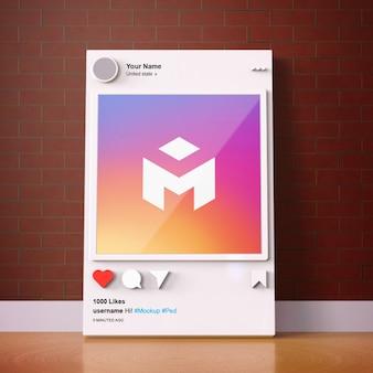 Plantilla de maqueta de instagram de redes sociales de interfaz 3d