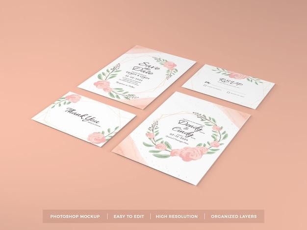 Plantilla de maqueta de invitación de boda realista