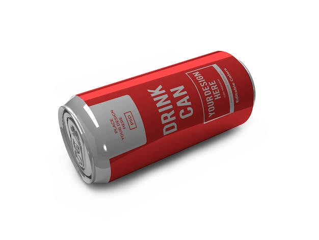 Plantilla de maqueta de lata de bebida realista aislada