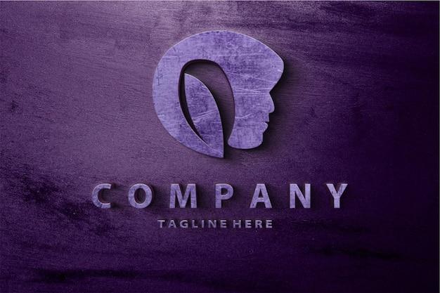 Plantilla de maqueta de logotipo metálico de belleza de lujo